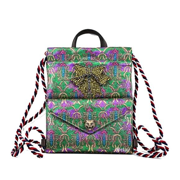 eb92e6dfbfb Gucci Animalier Chrystal Bow Brocade Backpack